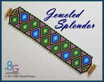JEWELED SPLENDOR Peyote Cuff Bracelet Pattern