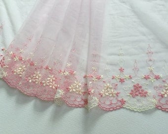 """stunning 9.5"""" pink embroidered tulle net lace - 2yd"""