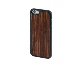 Real Zebrawood iPhone 6, 6S, 6 Plus, 7, 7 Plus Case with Bumper Edge