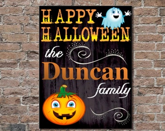 personalized halloween canvas signs personalized halloween decor halloween decorations holiday canvas prints - Personalized Halloween Decorations