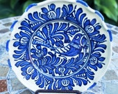 European CERAMIC Folk Art Pottery KOROND Rooster Plate Artistic Painted White Blue