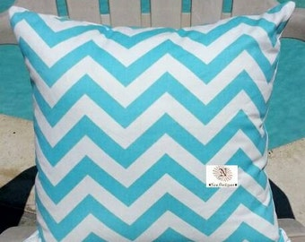 Chevron Print Zig Zag Aqua Blue White Decorative Indoor Throw Pillow Cover with Hidden Zipper