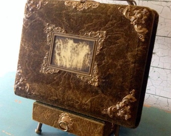 Victorian Velvet Photo Album with Stand and Drawer