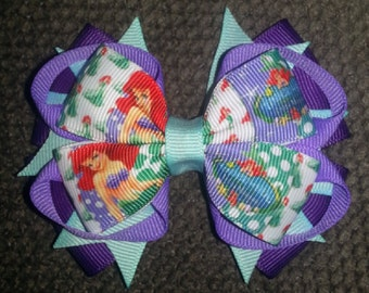 Ariel Little Mermaid Handmade Deep Purple Aqua Stacked Boutique Bow