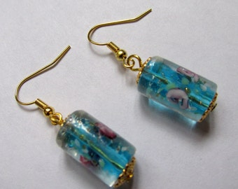 Blue Murano glass lampwork tube bead earrings. gold plated  hooks and caps. UK SELLER.