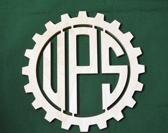 Wooden Gear Monogram // Gear Reverse Cut Monogram // Cogwheel Monogram // Father's Day Gift // Monogram Wall Decor // Circular Monogram