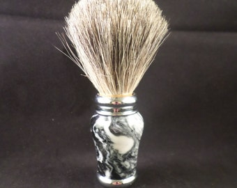 Badger Hair Shaving Brush Made With Tuxedo Acrylic Handle
