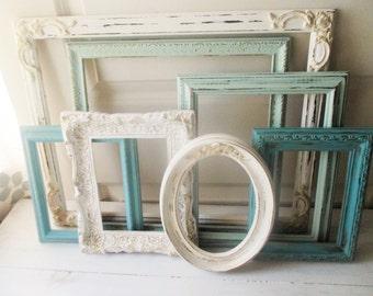 7 framesshabby chic vintage empty frame setfrench mintduck egg bluenursery decorantiqued frame grouping wedding framesvintage frames