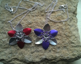 Flower metal scale necklace, your choice of colours