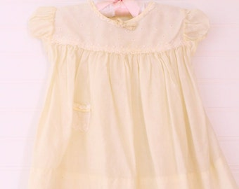 Vintage baby dress. antique yellowed dress, Nanette for 6-9 mo