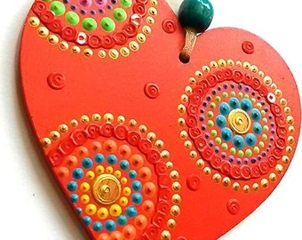 Single red Heart hanging decoration. Hand painted and sequin embellished by Artichicks.