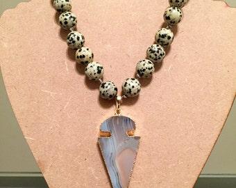Dalmatian Beaded Arrowhead Necklace