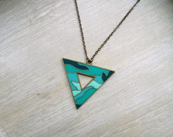 Long necklace, Triangle necklace, Geometric  necklace