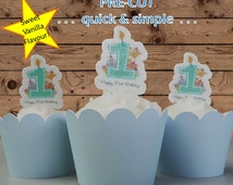 12x baby boy 1st birthday candle EDIBLE wafer stand up toppers PRE-CUT