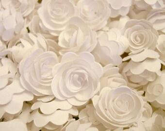 Set of 50Pcs - Pure White Handmade 3D MINI Rose Confetti