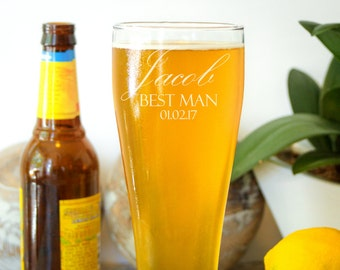 2 Personalized Beer Glasses, Custom Barware Gift, Personalized Pilsner Glass, Custom Beer Glass: Groomsman Gift, Gift for Him, Man Cave Gift
