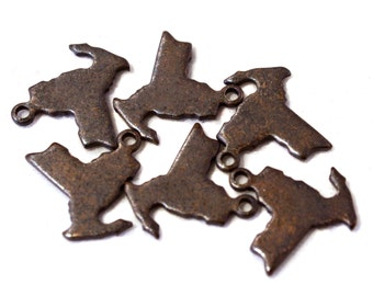 6x Antique Brass / Brown Patina Blank New York State Charms - M073/AB-NY