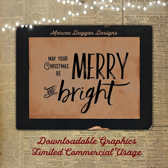 Merry and Bright | Christmas | Quote | Typographic | Holiday Quote | Downloadable Word Art | WA_008