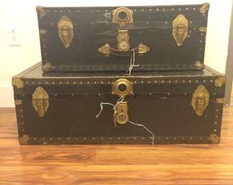 Antique Steamer Wood Trunk Set