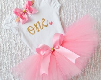 Pink and gold first birthday outfit, gold and pink birthday outfit, 1st birthday girl outfit, first bday outfit, birthday tutu, pink gold
