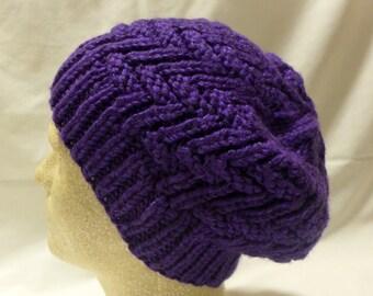 Thick Purple Zig-Zag Beanie
