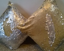New handmade cushion cover Mermaid Reversible Sequin Fishscale Tulle MATT SILVER GOLD Cushion 16 x 16 inch