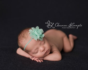 Aqua Flower Headband, Baby Headband, Simple Headband, Flower Headband, Photo Prop, Newborn Photo Prop, Baby Girl Headband