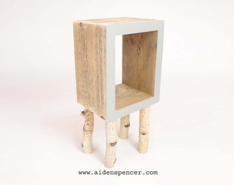 Reclaimed Wood Bedside Table with Silver Birch Legs