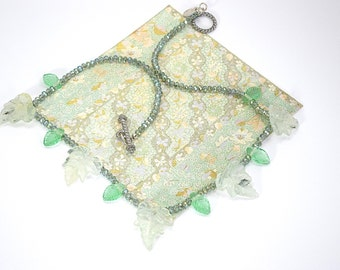 Green glass leaves necklace, green necklace, delicate necklace, glass necklace,