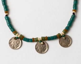 Trade Bead Necklace with Buffalo Nickels