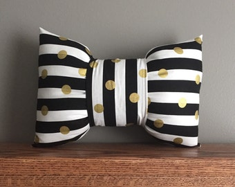 Black and White Stripe with Gold Dots Bow Pillow Mini/ Stripe Pillow/ Bow Pillow/ Striped Pillow