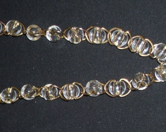 Vintage Clear Beaded Over The head Necklace, Tassel Necklace,