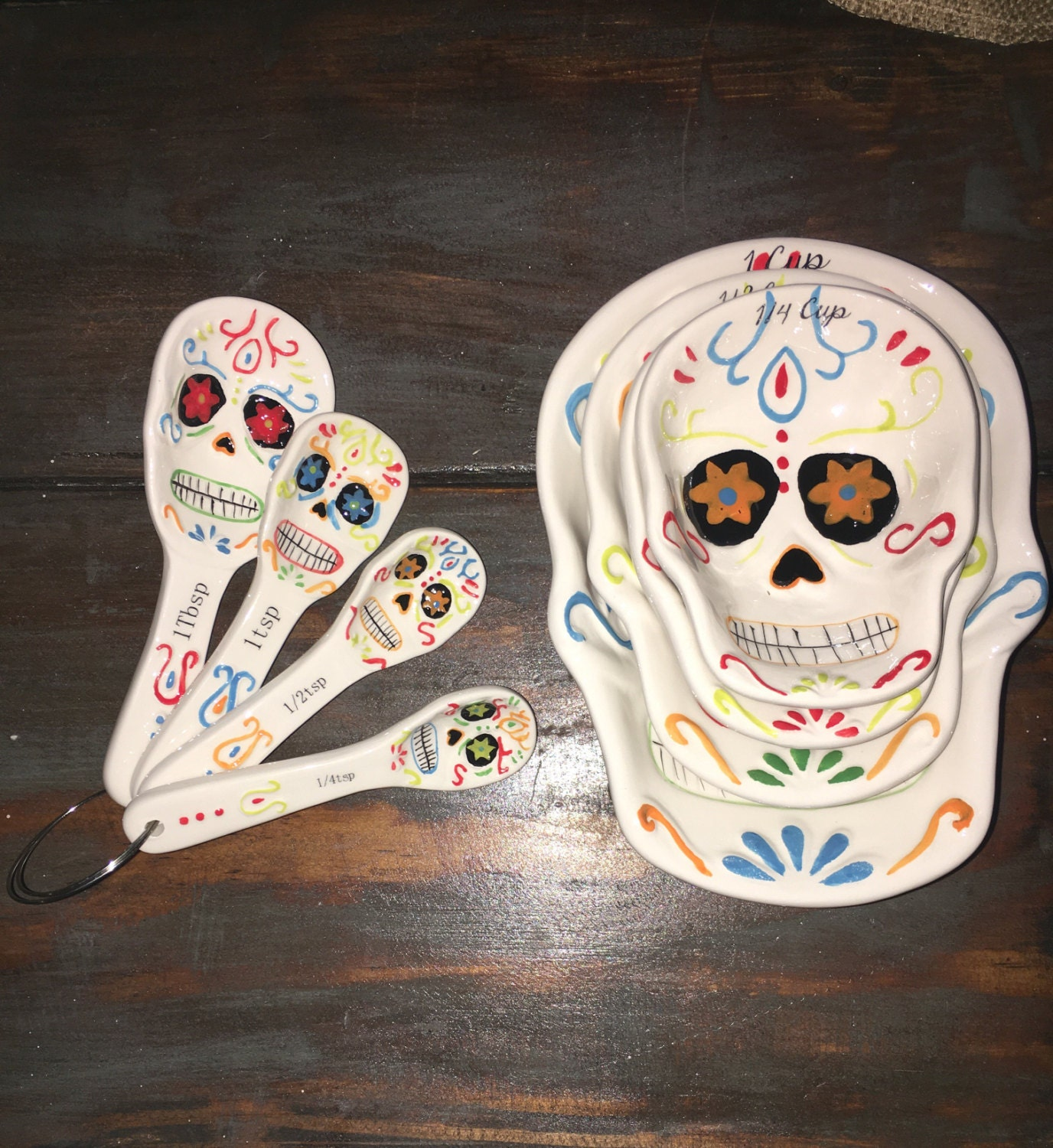 Beautiful Sugar Skull Measuring Cups And Spoons