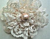 Lace Flower Pin*Lace Pin*Lace Brooch*Lace Flower*Flower Pin*Handmade Flower*Peach Flower