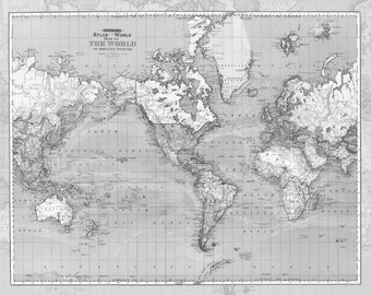 Gray World Map Fleece Blanket throw - cozy, sofa, couch, bed, travel decor, minimal, soft, grey winter, warm, wanderlust