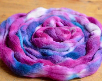 Hand Dyed Superwash Hampshire Down Top/Roving - 100g approx