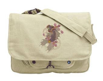 Steampunk Koi Embroidered Canvas Messenger Bag