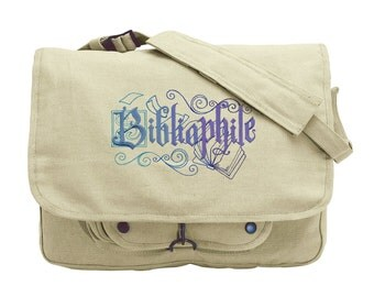 Book Bag, Book Messenger Bag, Bibliophile Canvas Bag, Booked Up - Bibliophile Embroidered Canvas Messenger Bag