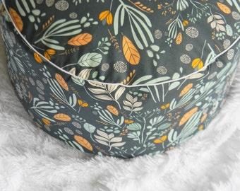 Modern Nursery pouf- Abstract leaves- Blue and Mustard Pouf- Custom Modern Pouf- Made to Order Boys Cushion- Nursery Seating- Playroom