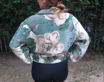 Paco Soler, rose jacket,white,rose,coat,small,medium,large