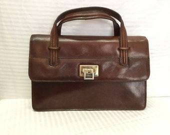 Saks Fifth Avenue, Italy, Brown Leather purse, Bags ,Purses, Brown, Handbag,Made in Italy,top handles