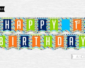Instant Download Orange, Blue, Lime and Navy Happy 1ST Birthday Banner DIY Printable (PDSDCH002)