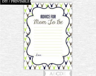 Instant Download Brown, Green, Navy Woodland Baby shower Game, Advice for the Mom Cards DIY Printable (PDW004)