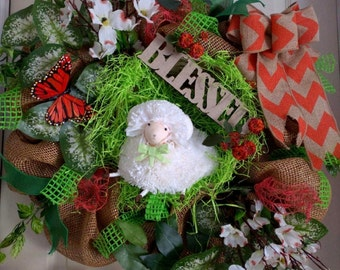 Natural Paper Burlap Easter/Spring Wreath - Handmade