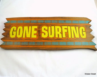 "GONE SURFING SIGN Solid Wood ""Gone Surfing"" Colorful Rustic Wood Sign Beach Sign Surfer Gone Surfing Wooden Sign with Metal Hooks and  Twine"