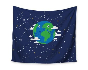 "Wall Tapestry - Blue Green Planet Kess Original ""Happy Earth"" KIH342A Great Gift Idea!"