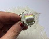 Tiny Angel Cake Adjustable Ring,  Angel Food Cake,  Miniature Food,  Tiny Food,  Kawaii Ring, Food Jewellery
