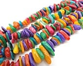 Shell Chip Beads, Multi Color Shell, MOP Beads, 30 Inch Strand, Large Chips, Rainbow Beads, Dyed Shell Beads, Colorful Jewelry, UK Seller