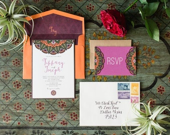 SAMPLE 5x7 Exotic Asian/Eastern Wedding Invitation with Wood Textures, Includes RSVP & Envelope Liner