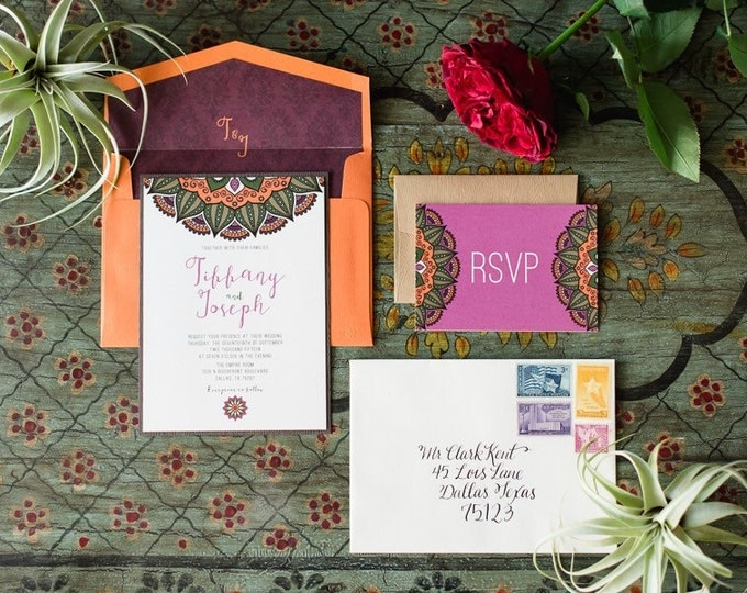 5x7 Exotic Asian/Eastern Mandala Wedding Invitation with Wood Textures, Includes RSVP & Envelope Liner